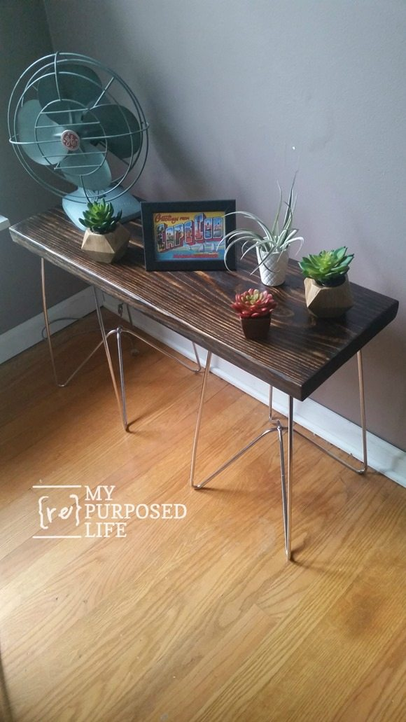long side table with metal legs MyRepurposedLife.com