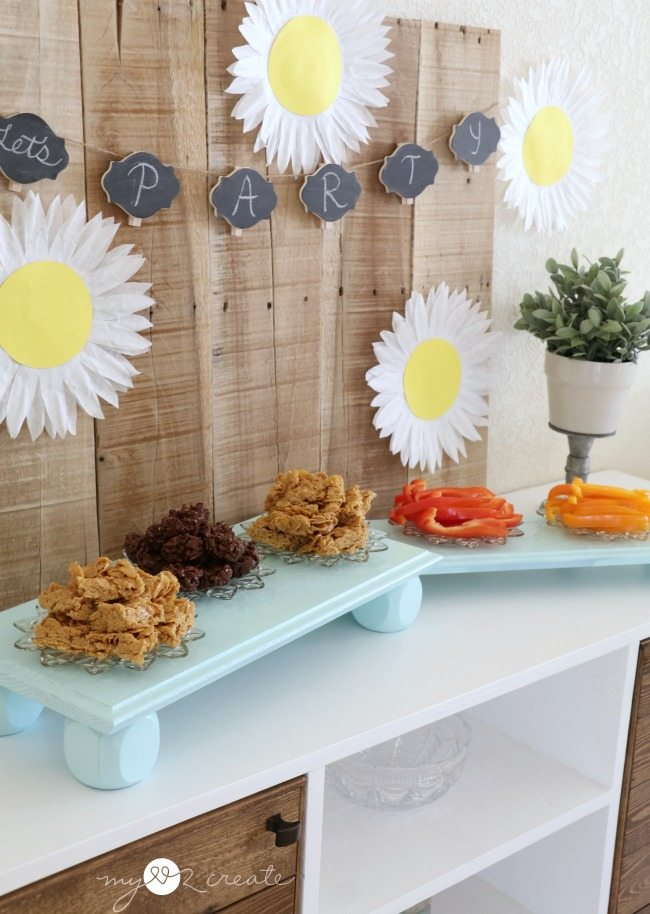 repurposed drawer fronts and spindles into serving stands