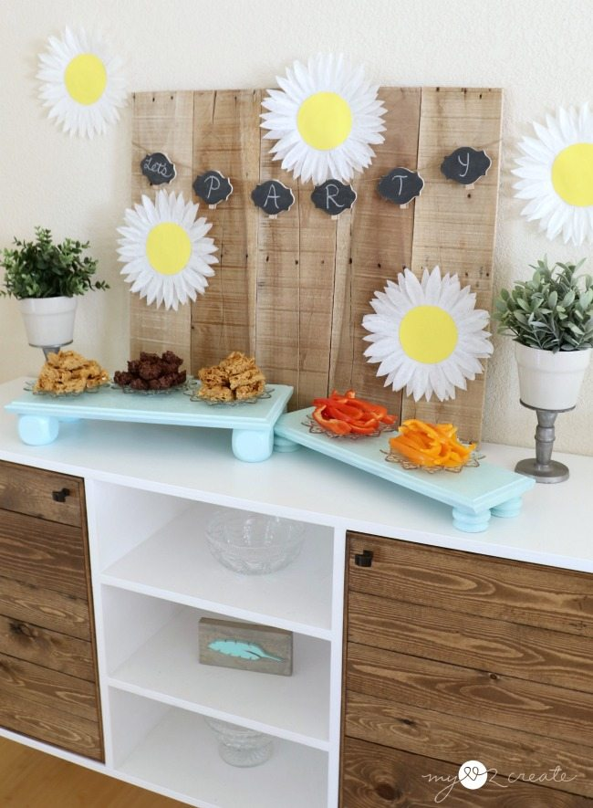 serving stands made from drawer fronts and spindles