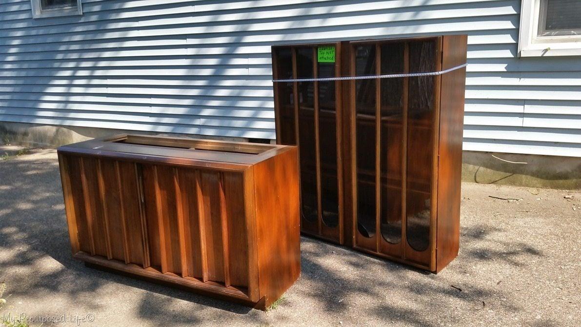 thrift store mid century modern hutch