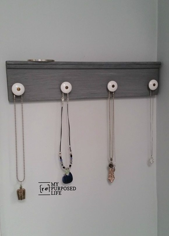 gray glazed necklace holder jewelry organizer MyRepurposedLife.com