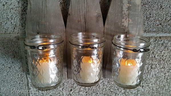 triple picket fence candle sconce jelly jar