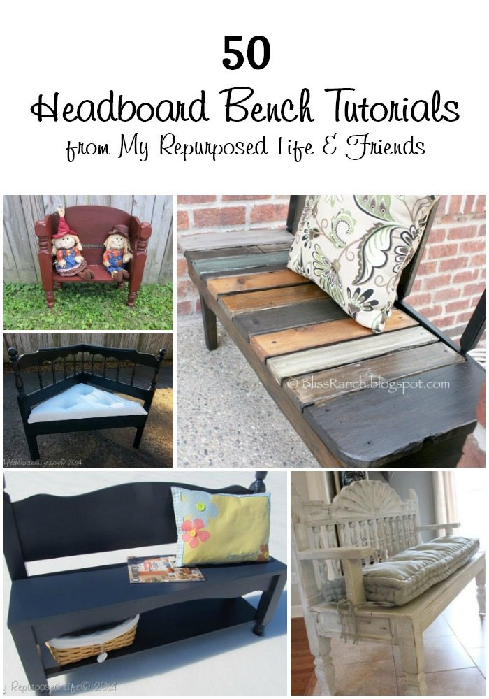 f you've always wanted to make a headboard bench but didn't know where to start, READ THIS! Over 50 project ideas of how to make a Headboard Bench out of a repurposed headboard. Real Headboard Bench Ideas - projects that you can make this weekend. Lots of ideas and directions for each headboard bench. #MyRepurposedLife #repurposed #furniture #headboard #bench #diy via @repurposedlife