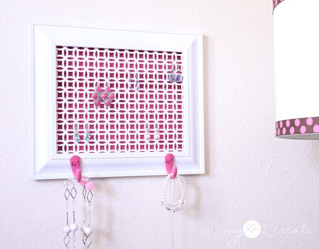 Make a jewelry holder out of a picture frame