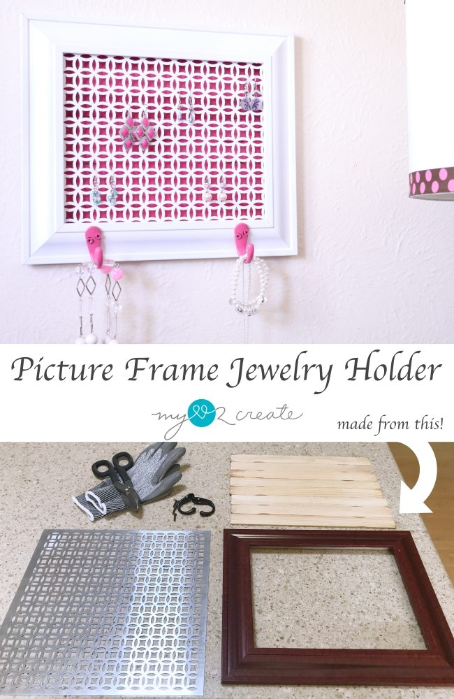 How to make a Picture frame jewelry holder out of decorative metal to match your decor.