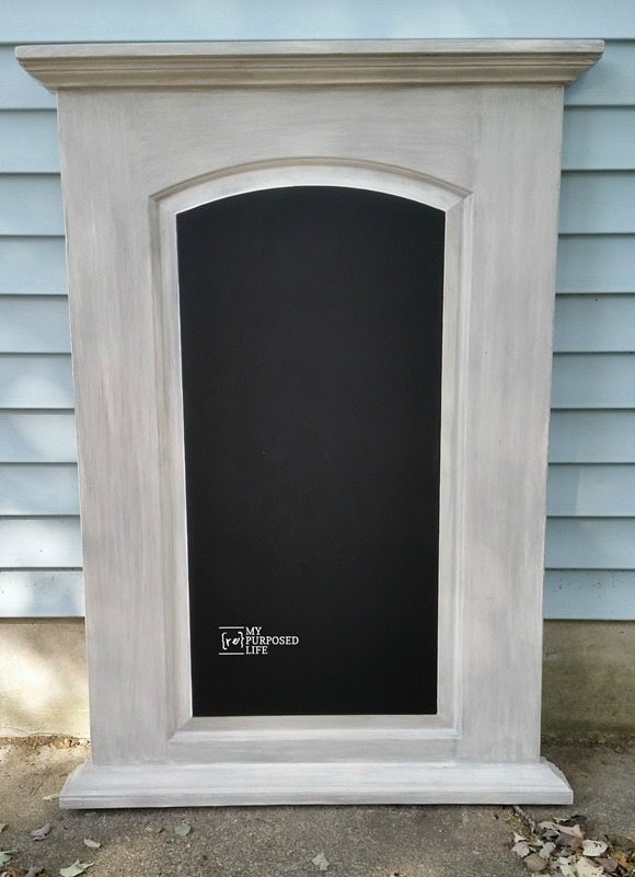 hollow core door chalkboard made from a curb found damaged door MyRepurposedLife.com