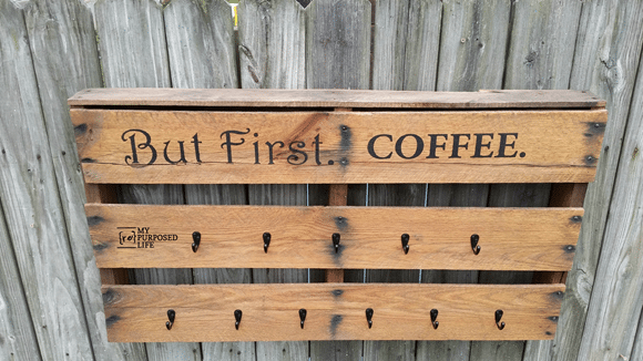 half pallet coffee cup rack but first coffee MyRepurposedLife