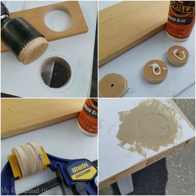 how to fill in doorknob hole on repurposed door