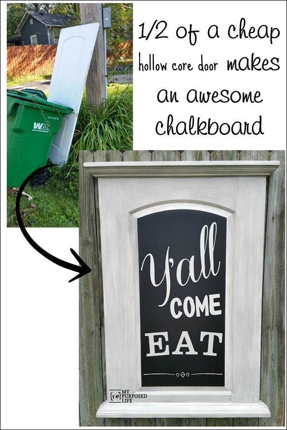 one half of a cheap hollow core door makes an awesome chalkboard MyRepurposedLife.com