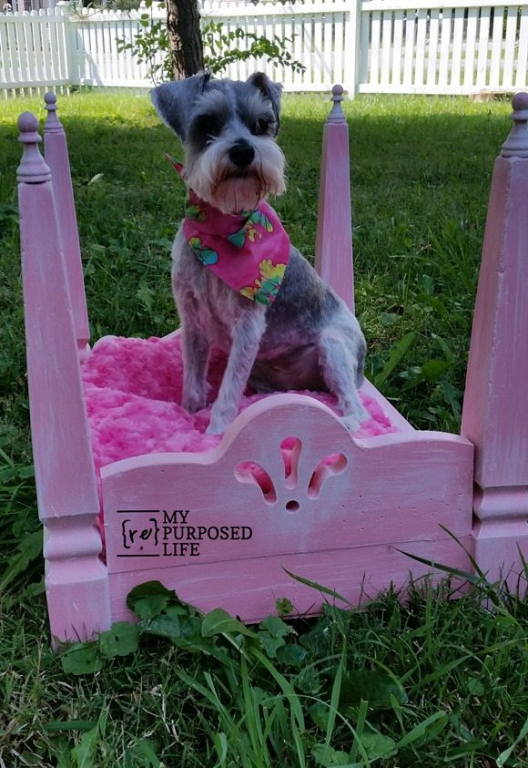 pink dog bed or doll bed made using table legs MyRepurposedLife.com