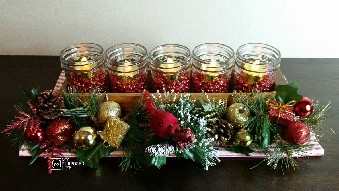 Christmas centerpiece made with jelly jars and small drawer MyRepurposedLife