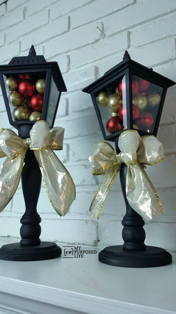 black diy Christmas lanterns made from porch lights MyRepurposedLife.com