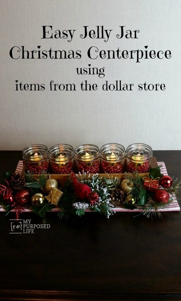 easy jelly jar Christmas centerpiece MyRepurposedLife