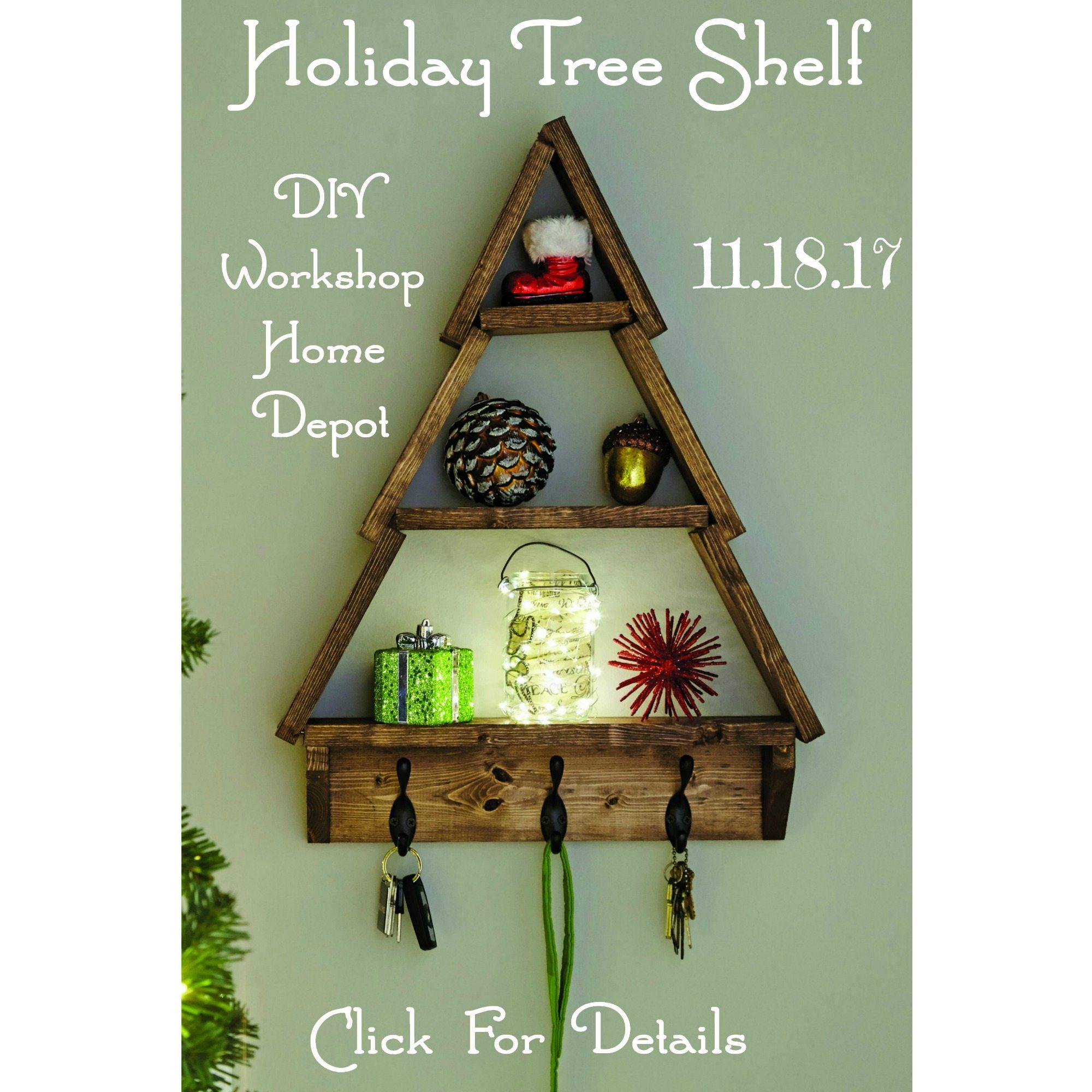 Holiday tree shelf home depot diy workshop november 2017 for Tree of life bookshelf