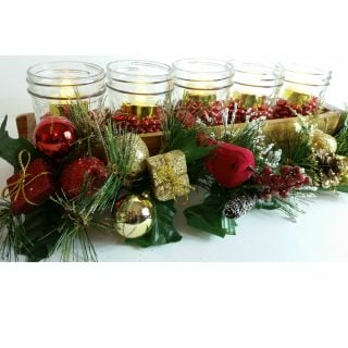 Jelly Jar Centerpiece for Christmas