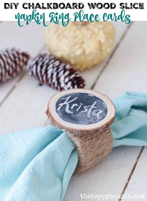 wood slice chalkboard napkin rings