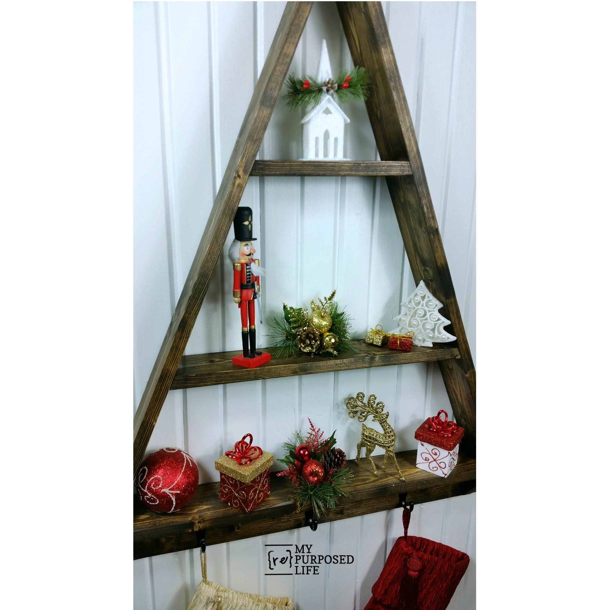 Diy Christmas Tree Shelf My Repurposed Life Rescue Re Imagine Repeat