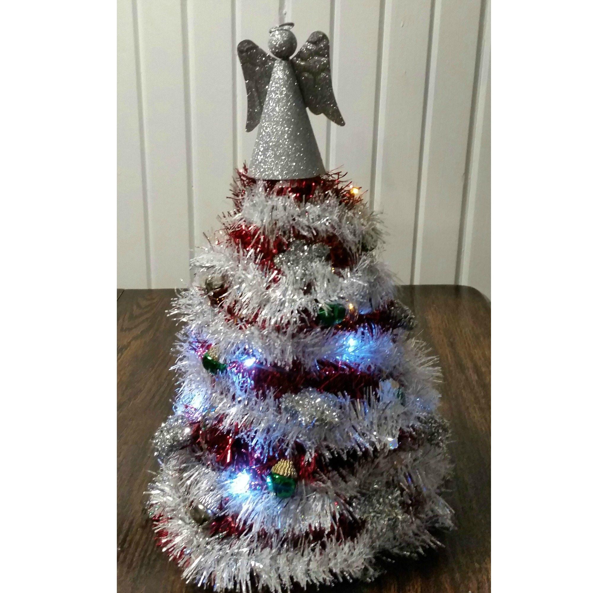dollar store garland christmas tree my repurposed life - Dollar Store Christmas Tree