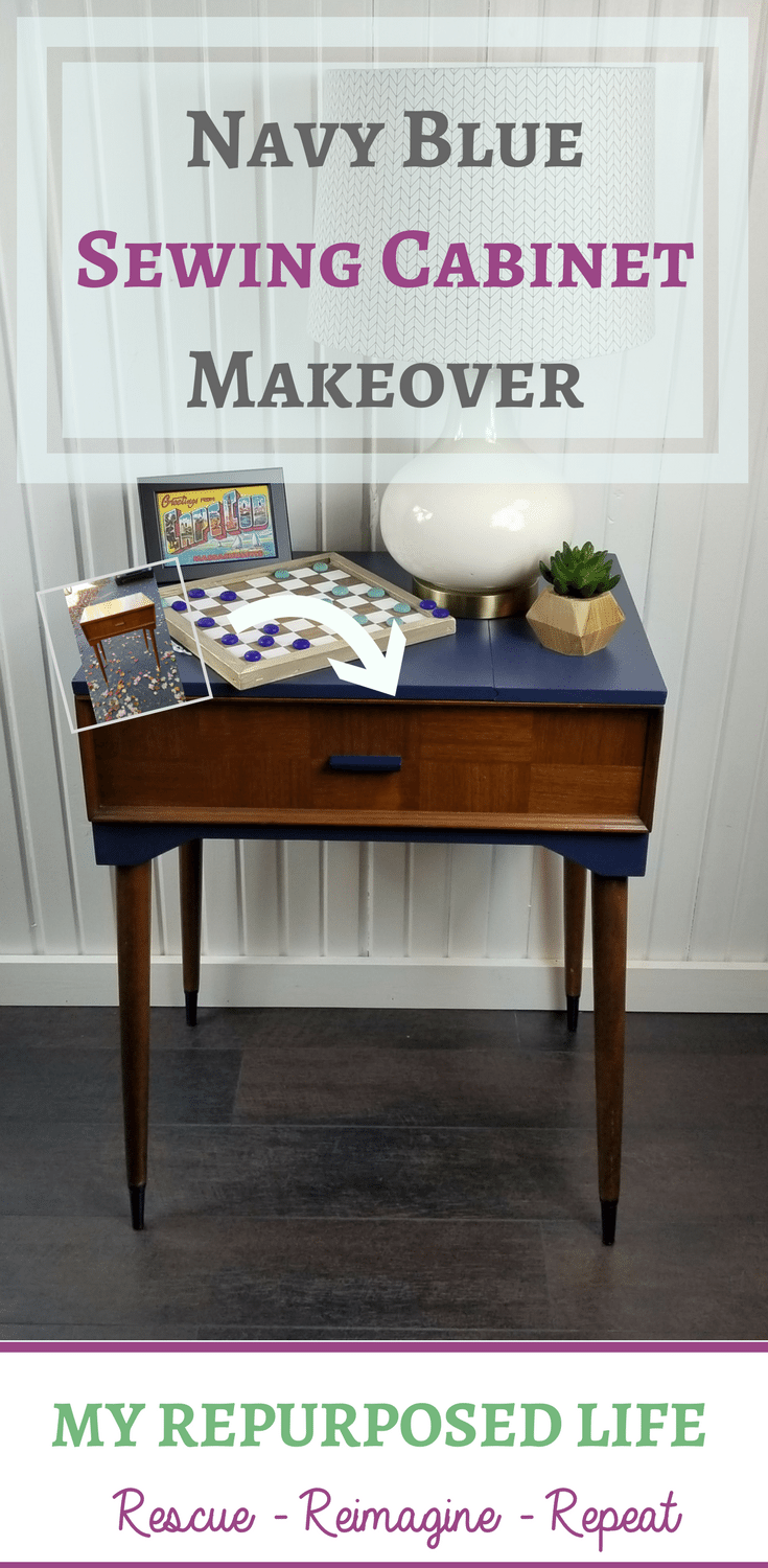 You will love this mid century modern sewing cabinet makeover. Leaving the wood tones with the navy blue paint makes this project glisten! You can DIY it! #MyRepurposedLife #repurposed #sewingcabinet #makeover #mcm #midcenturymodern #furniture via @repurposedlife