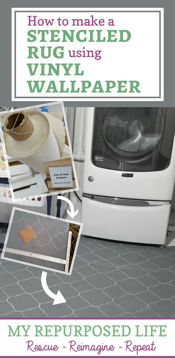 easy diy stenciled rug for the laundry room
