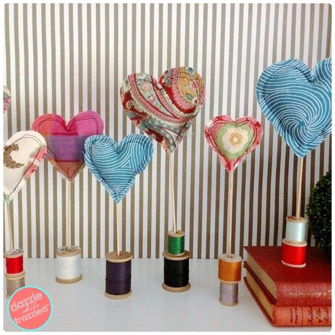 diy fabric heart decor