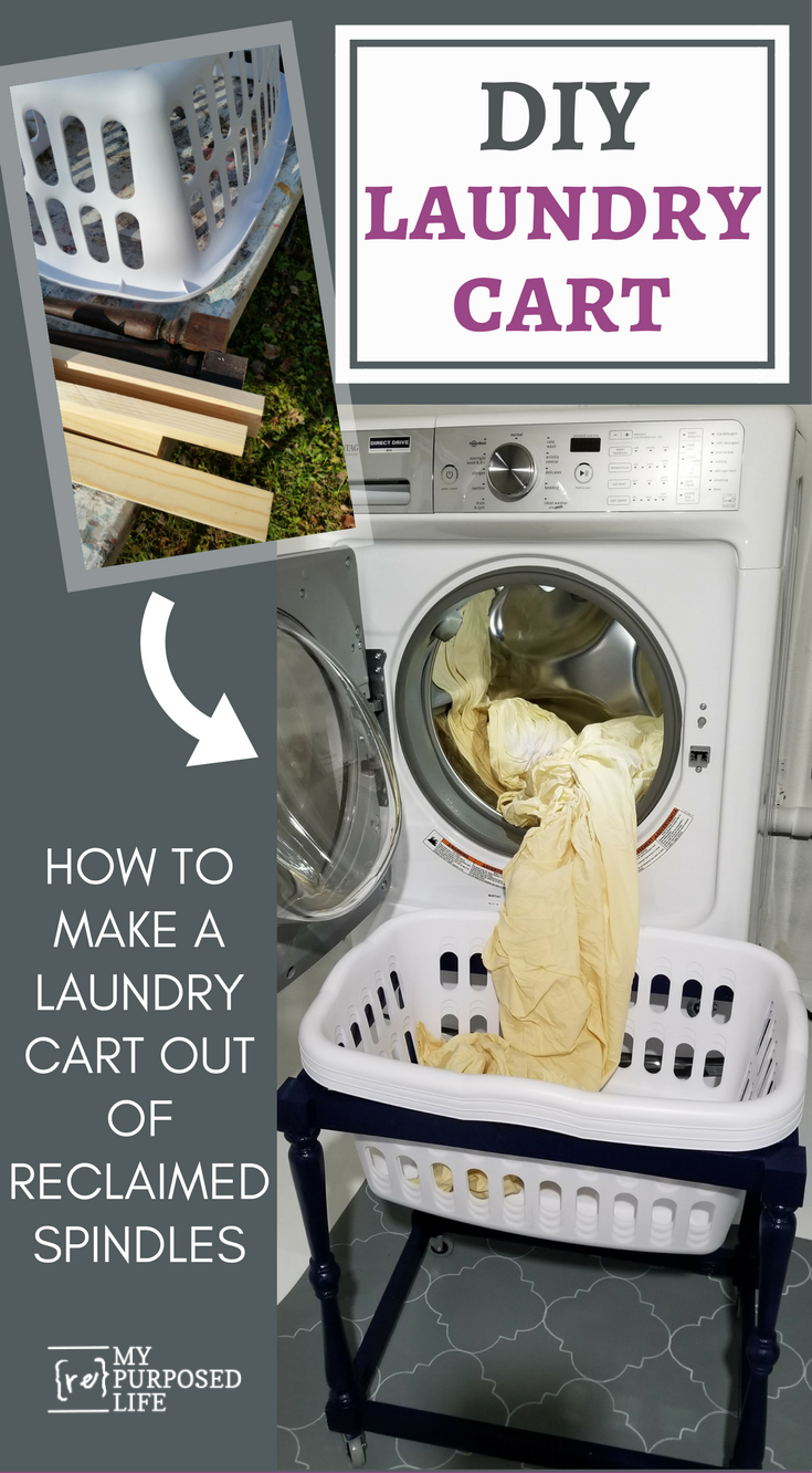 Do you drop laundry on the floor when using your front loader? I looked for a solution, but couldn't find one. So I used spindles to make a DIY laundry cart for my basement laundry area. #MyRepurposedLife #repurposed #spindles #laundry #cart via @repurposedlife