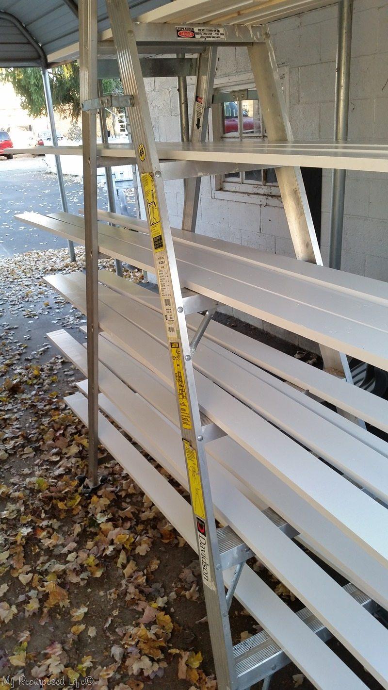 mobile ladder dries door trim boards