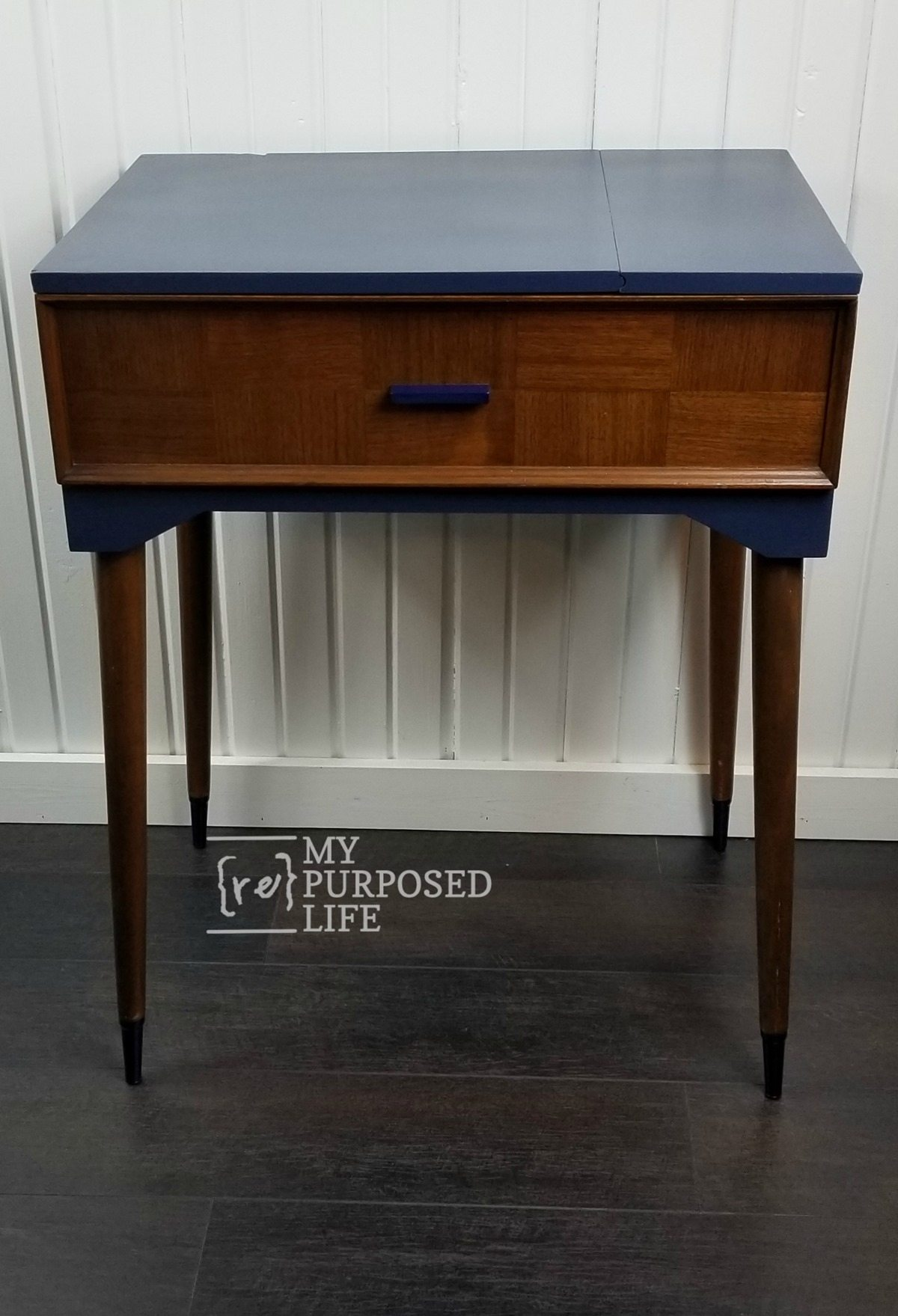 navy blue and wood sewing cabinet makeover MyRepurposedLife