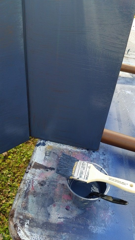 paint sewing cabinet navy blue