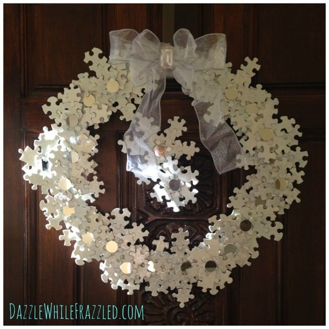 puzzle pieces snowflake wreath