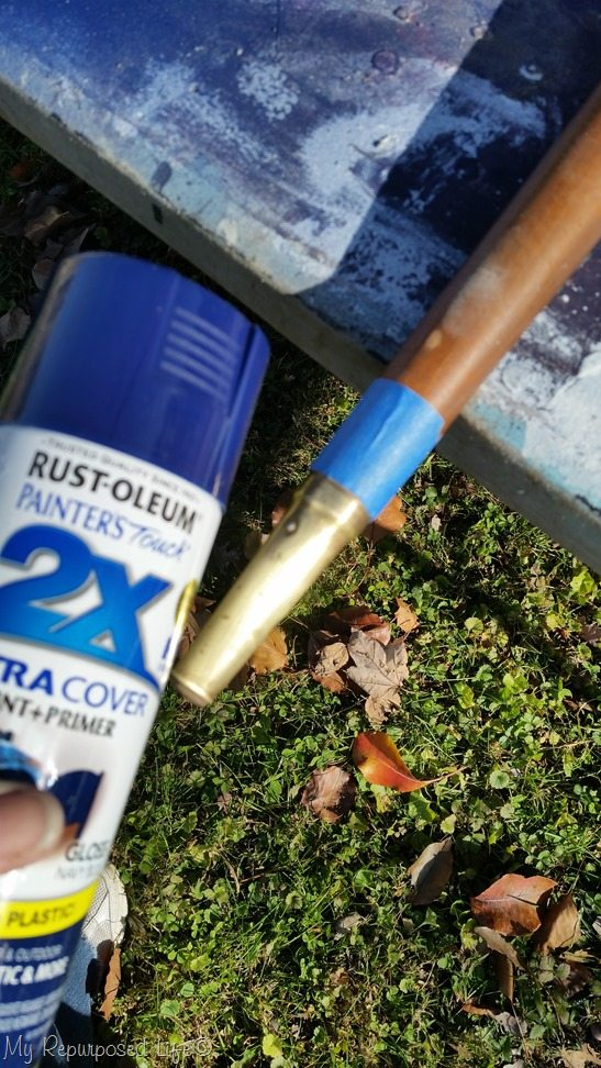 tape off spray paint metal legs