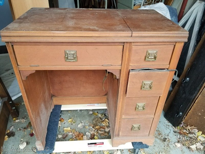 vintage sewing desk needs work