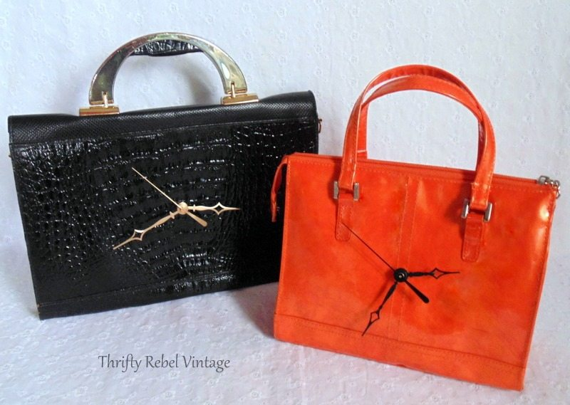repurposed-black-purse-clock-and-orange-purse-clock-2