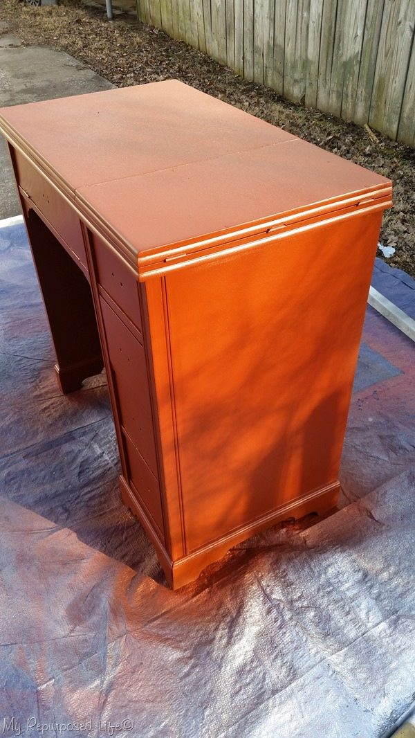 rusty red paint vintage sewing desk
