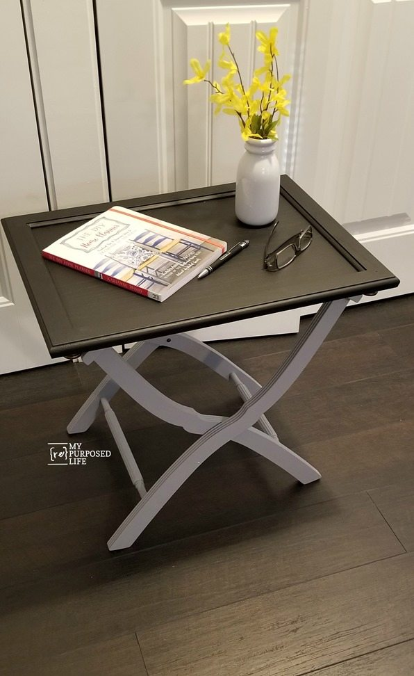 Use A Luggage Rack And Cabinet Door To Make Useful Side Table Breakfast Tray