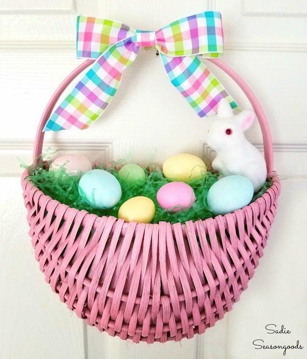 Easter basket wreath door decor