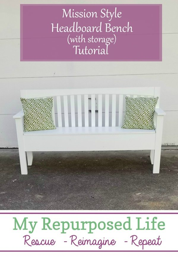 How to make a mission style headboard bench from a free roadside find. This bench designed itself because the foot board was missing. #MyRepurposedLife #repurposed #headboard #bench #tutorial #diy via @repurposedlife