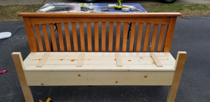 make headboard bench plank seat