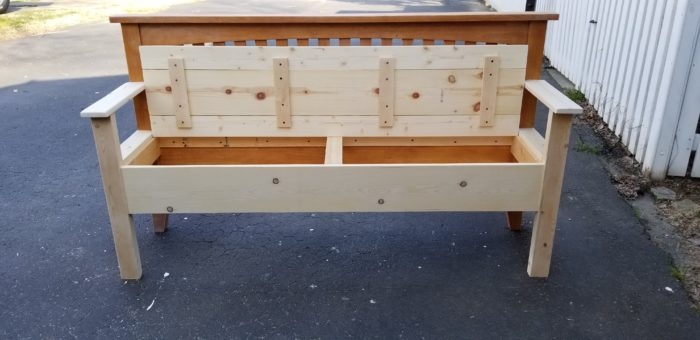 mission style headboard bench with storage seat ready to be painted