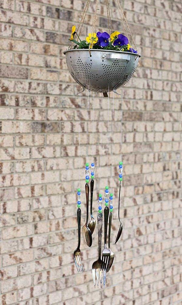 silverware colander wind chimes
