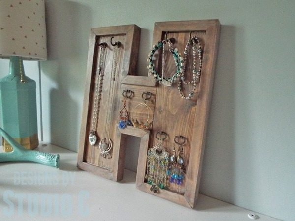 wood letter jewelry holder