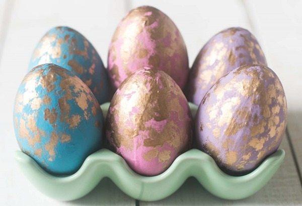 wooden eggs gold leaf Easter eggs