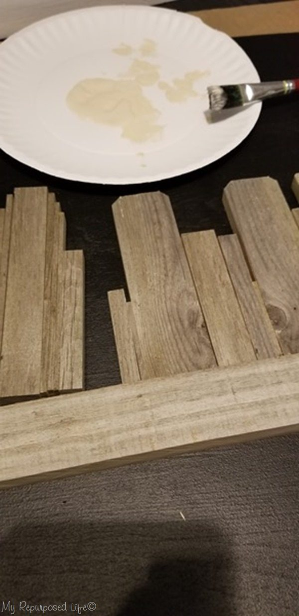 glue weathered fence boards for rustic skyline art