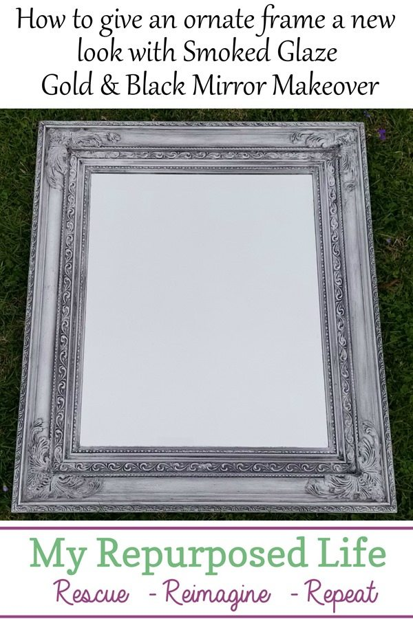 how to give an ornate frame a new look with smoked glaze-gold and black mirror makeover MyRepurposedLife.com