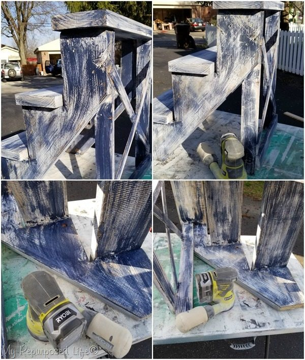 layered aged paint technique before after sanding
