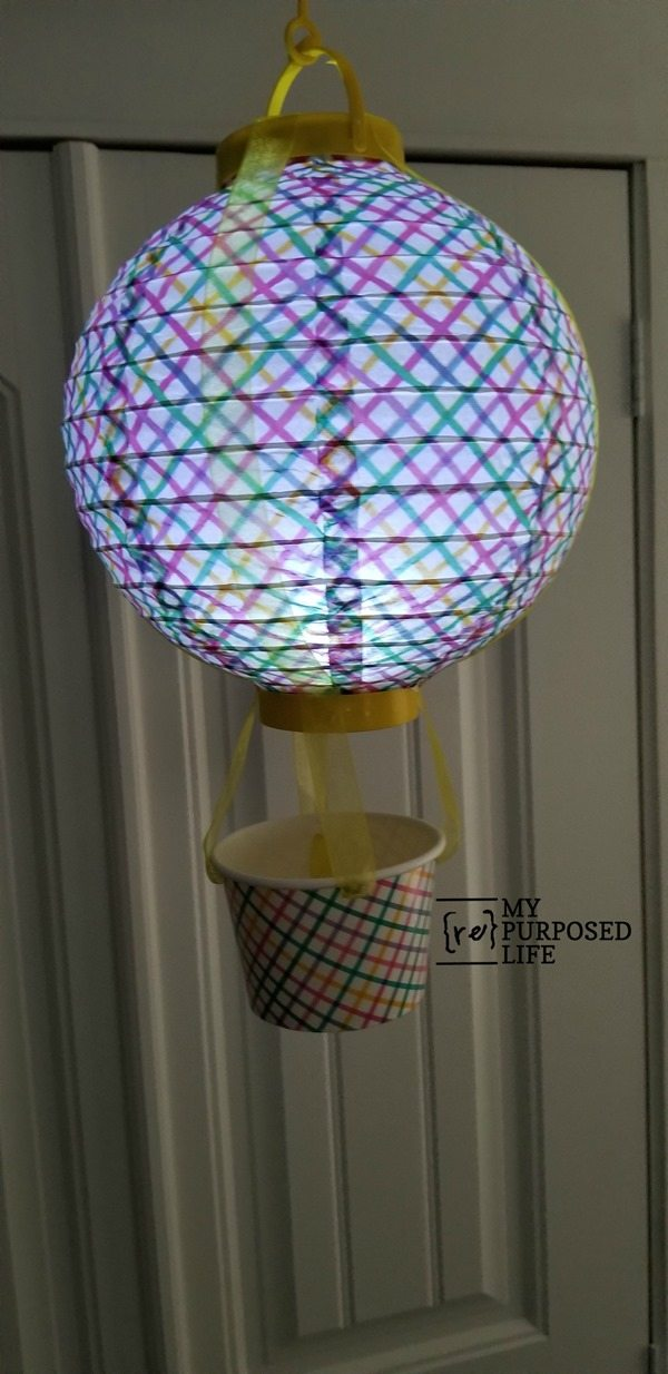 light up dollar store chinese lantern hot air balloon shower decor MyRepurposedLife.com