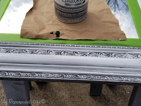 ornate frame with glaze wiped off