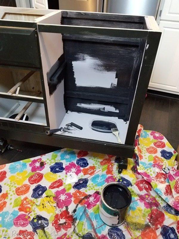 paint kneehole of repurposed desk kitchen island