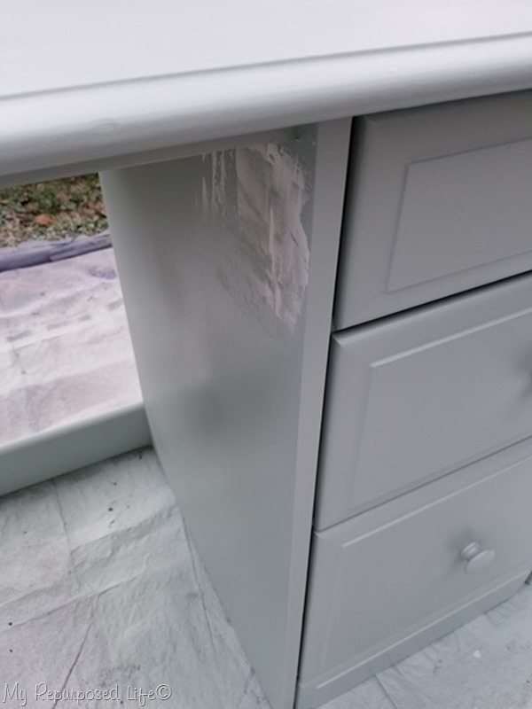 patch and paint small desk makeover