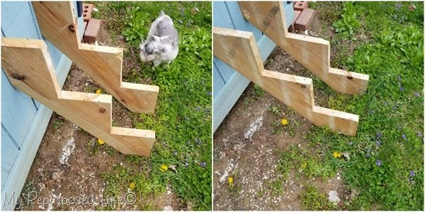 reclaimed stair stringers to make a tiered plant stand